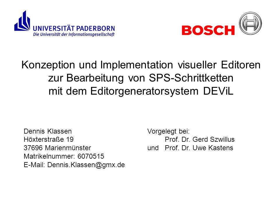 Konzeption und Implementation visueller Editoren zur Bearbeitung von SPS-Schrittketten mit dem Editorgeneratorsystem DEViL