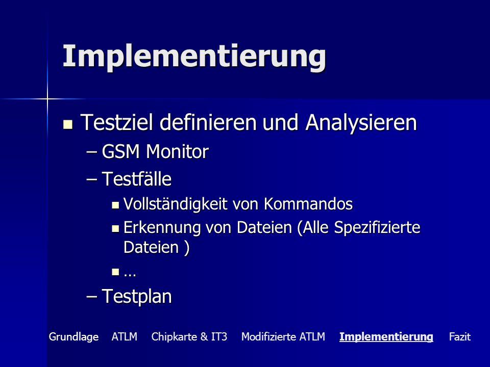 Implementierung Testziel definieren und Analysieren GSM Monitor
