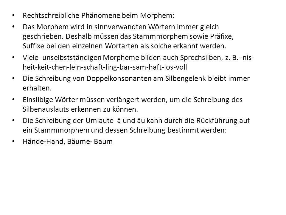 Rechtschreibliche Phänomene beim Morphem: