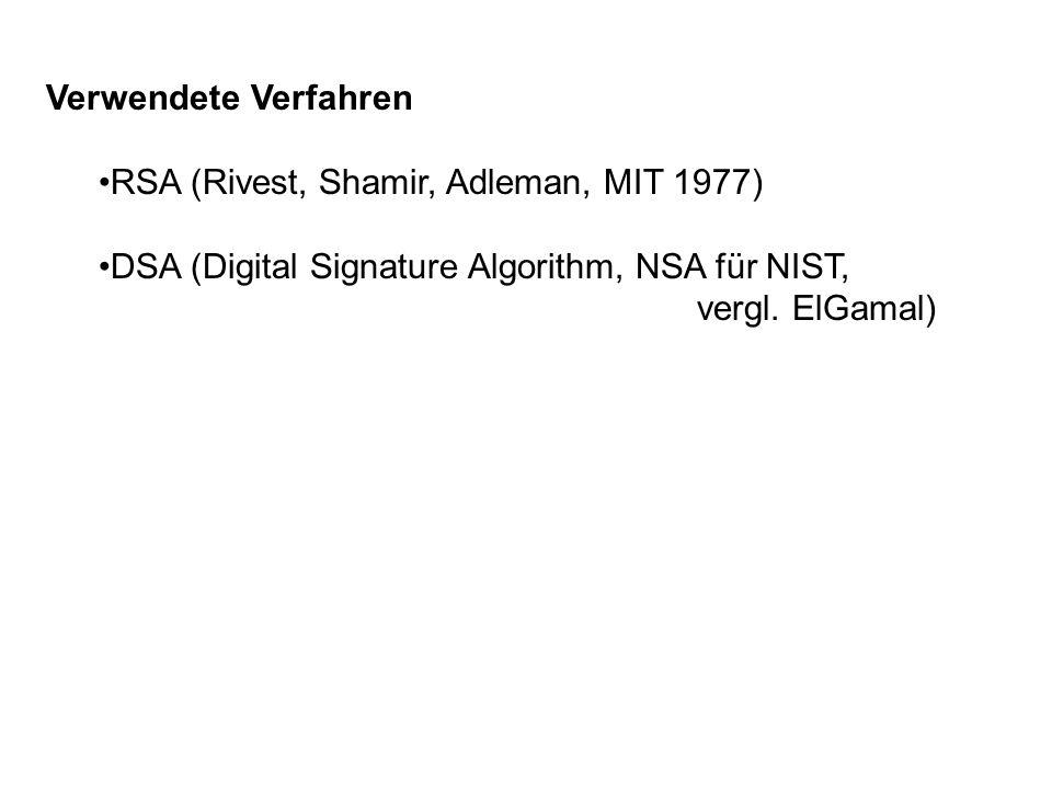 Verwendete Verfahren RSA (Rivest, Shamir, Adleman, MIT 1977) DSA (Digital Signature Algorithm, NSA für NIST,
