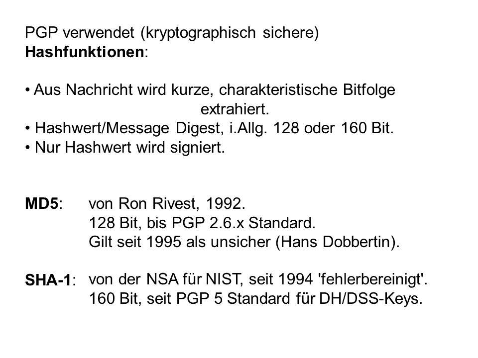 PGP verwendet (kryptographisch sichere)