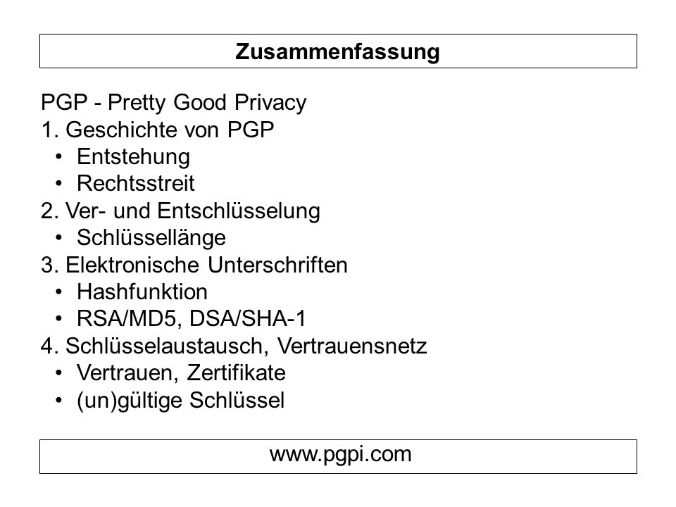 Zusammenfassung PGP - Pretty Good Privacy. 1. Geschichte von PGP. Entstehung. Rechtsstreit. 2. Ver- und Entschlüsselung.