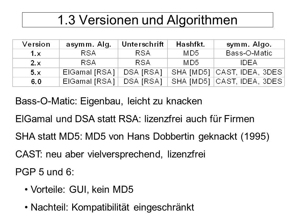 1.3 Versionen und Algorithmen