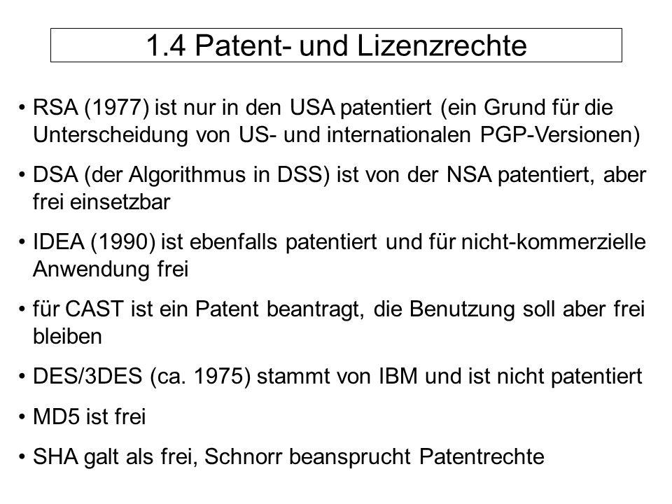 1.4 Patent- und Lizenzrechte