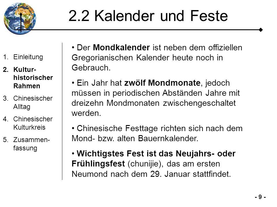 2.2 Kalender und Feste Der Mondkalender ist neben dem offiziellen Gregorianischen Kalender heute noch in Gebrauch.