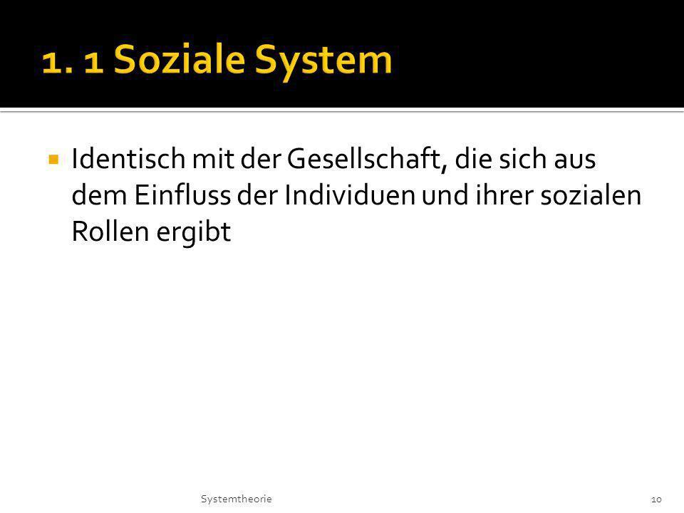 1. 1 Soziale System Identisch mit der Gesellschaft, die sich aus dem Einfluss der Individuen und ihrer sozialen Rollen ergibt.