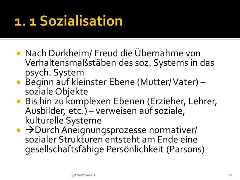 1. 1 Sozialisation Nach Durkheim/ Freud die Übernahme von Verhaltensmaßstäben des soz. Systems in das psych. System.