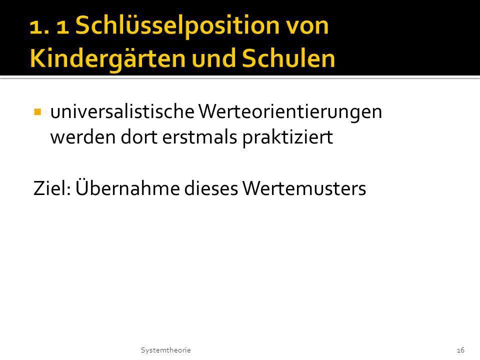 1. 1 Schlüsselposition von Kindergärten und Schulen