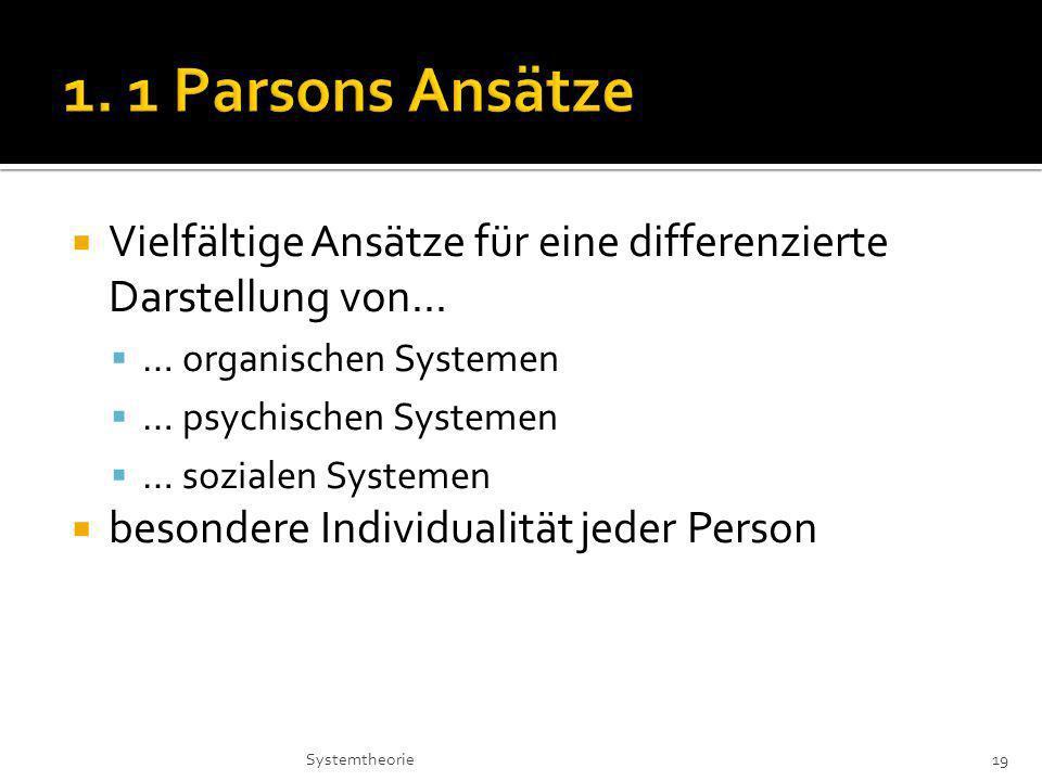 1. 1 Parsons Ansätze Vielfältige Ansätze für eine differenzierte Darstellung von... … organischen Systemen.