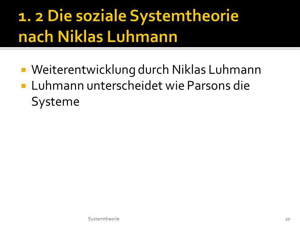 1. 2 Die soziale Systemtheorie nach Niklas Luhmann