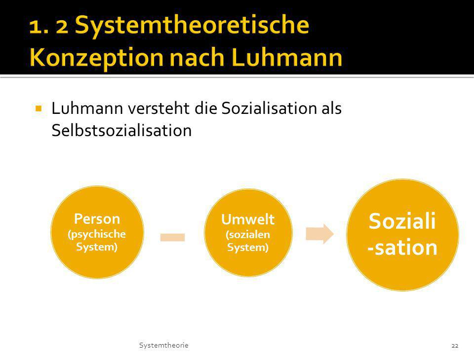 1. 2 Systemtheoretische Konzeption nach Luhmann
