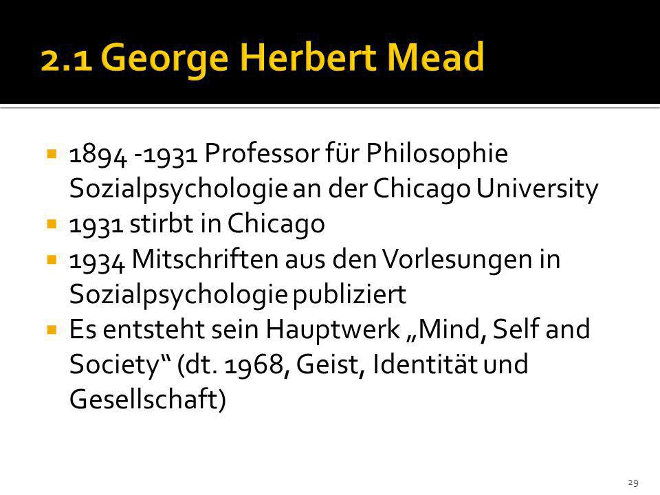 2.1 George Herbert Mead 1894 -1931 Professor für Philosophie Sozialpsychologie an der Chicago University.