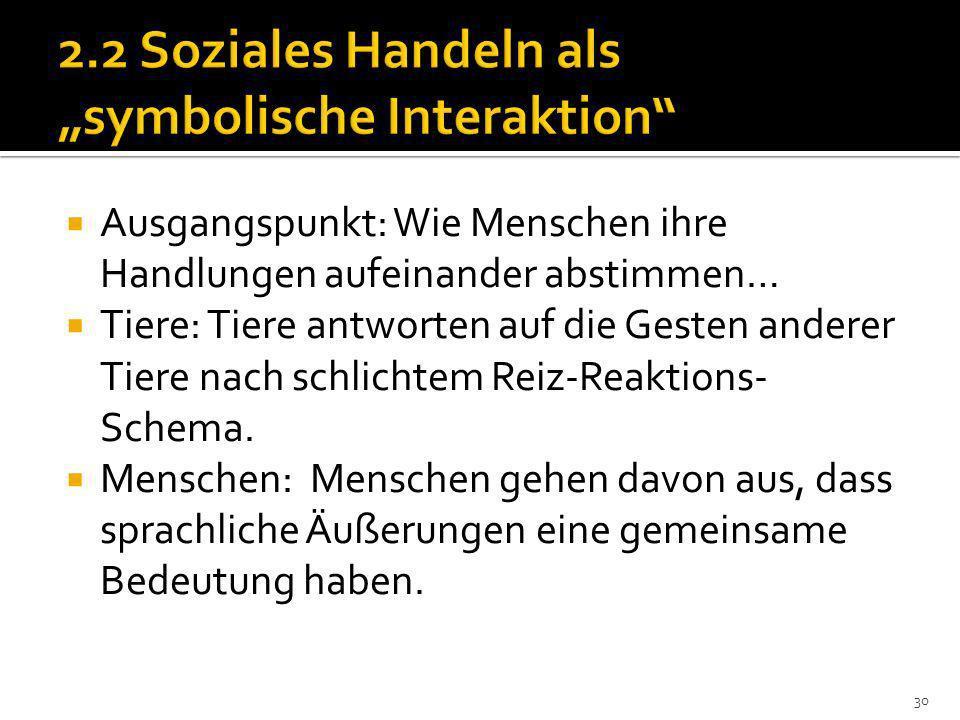 """2.2 Soziales Handeln als """"symbolische Interaktion"""