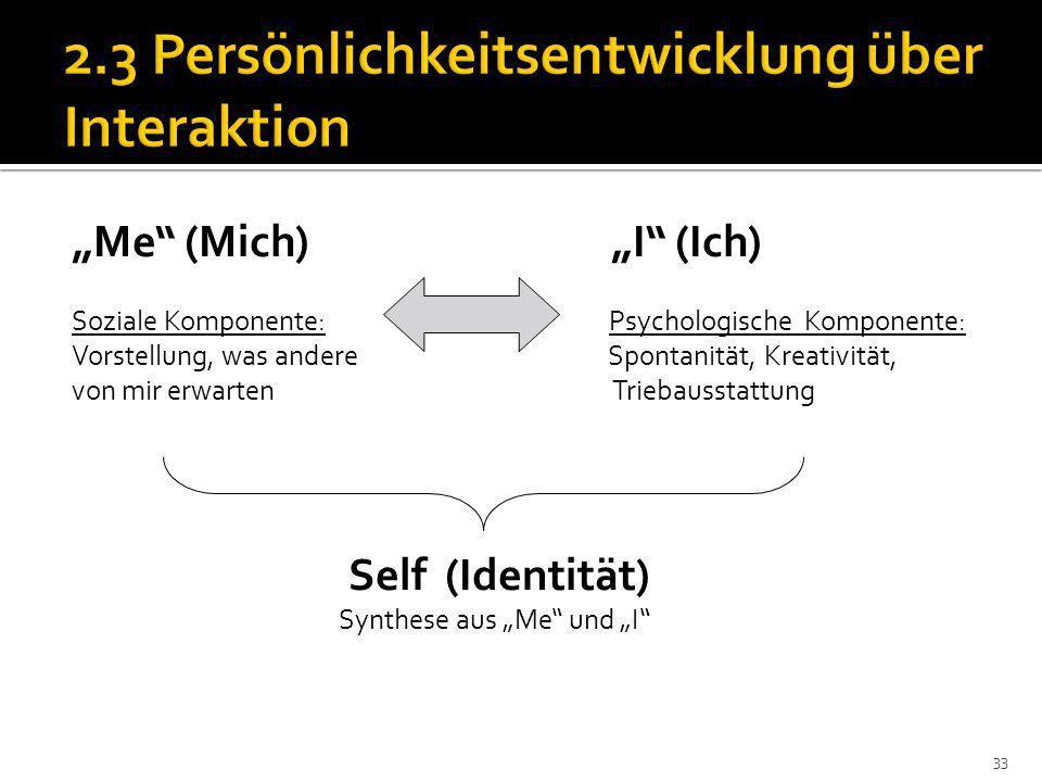 2.3 Persönlichkeitsentwicklung über Interaktion
