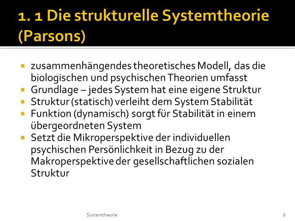 1. 1 Die strukturelle Systemtheorie (Parsons)