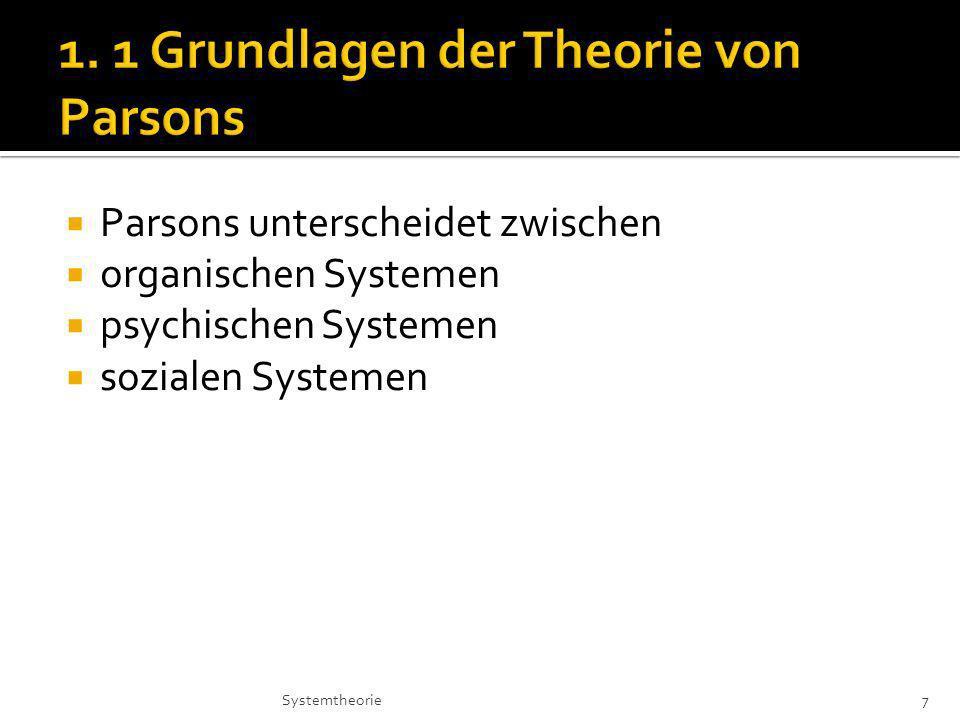 1. 1 Grundlagen der Theorie von Parsons