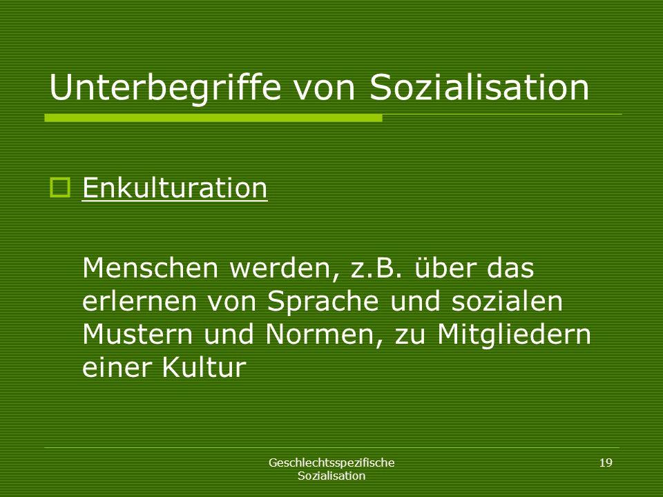 Unterbegriffe von Sozialisation