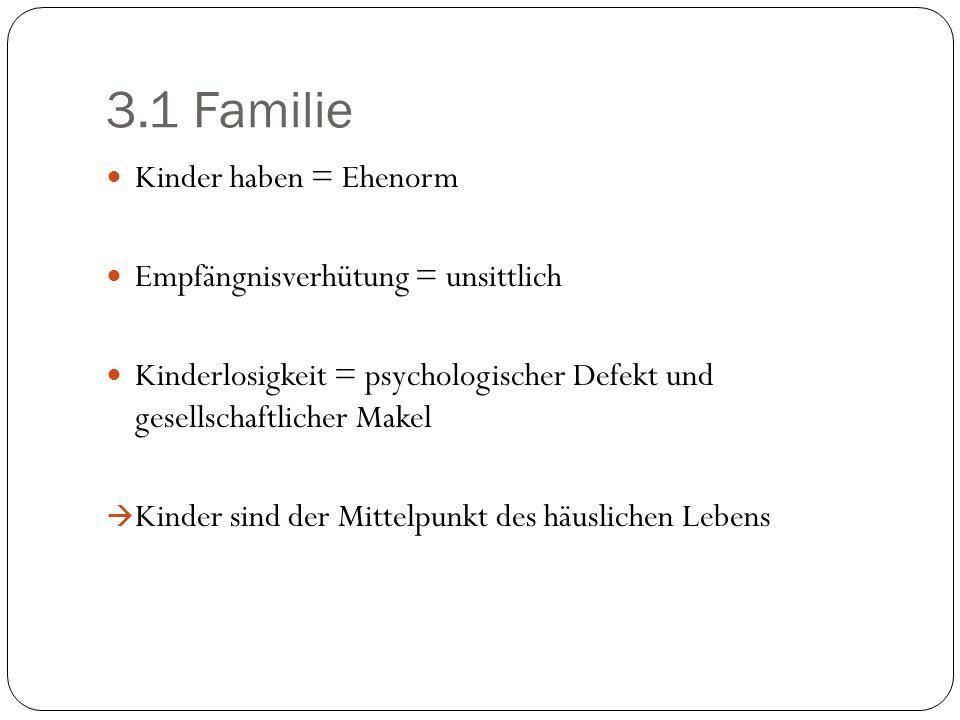 3.1 Familie Kinder haben = Ehenorm Empfängnisverhütung = unsittlich