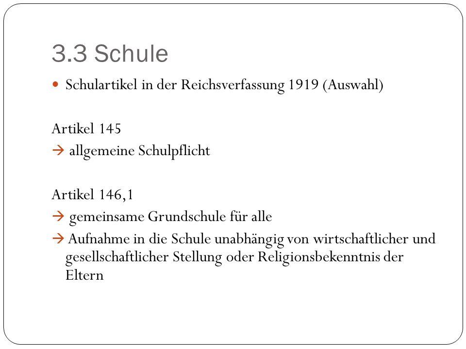 3.3 Schule Schulartikel in der Reichsverfassung 1919 (Auswahl)