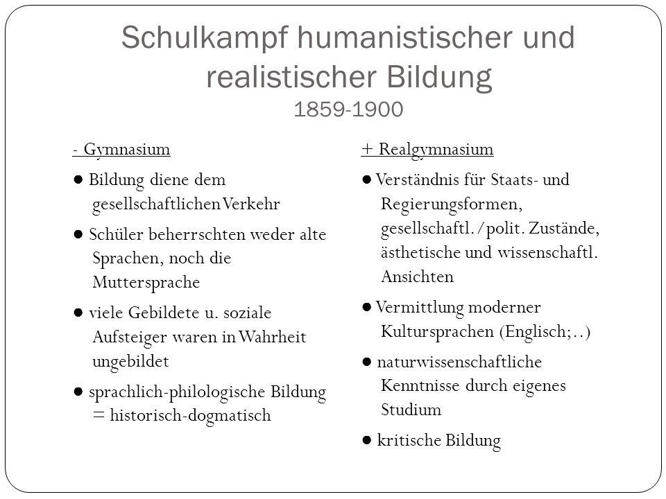 Schulkampf humanistischer und realistischer Bildung 1859-1900