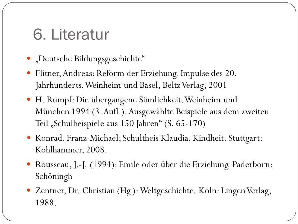 """6. Literatur """"Deutsche Bildungsgeschichte"""