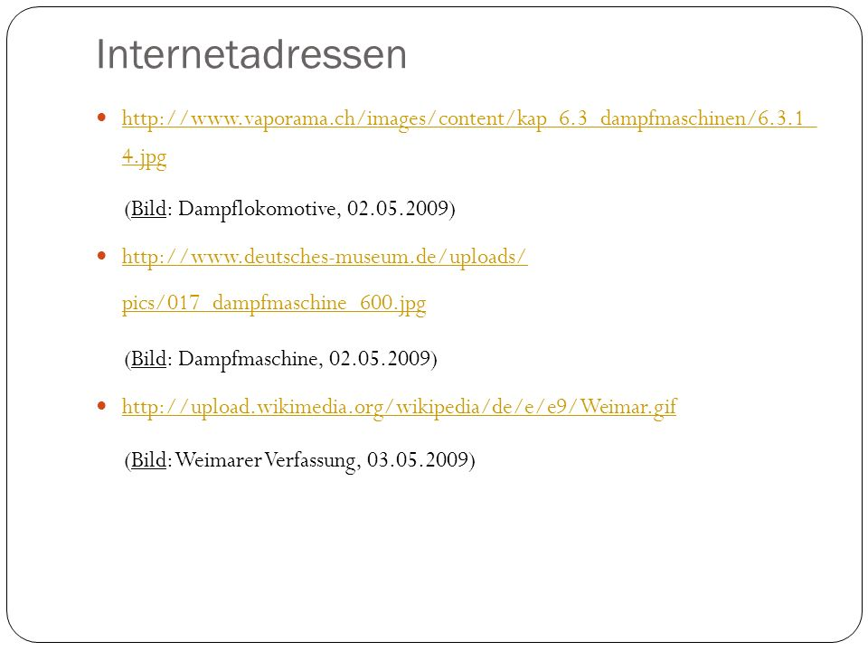Internetadressen (Bild: Dampflokomotive, 02.05.2009)