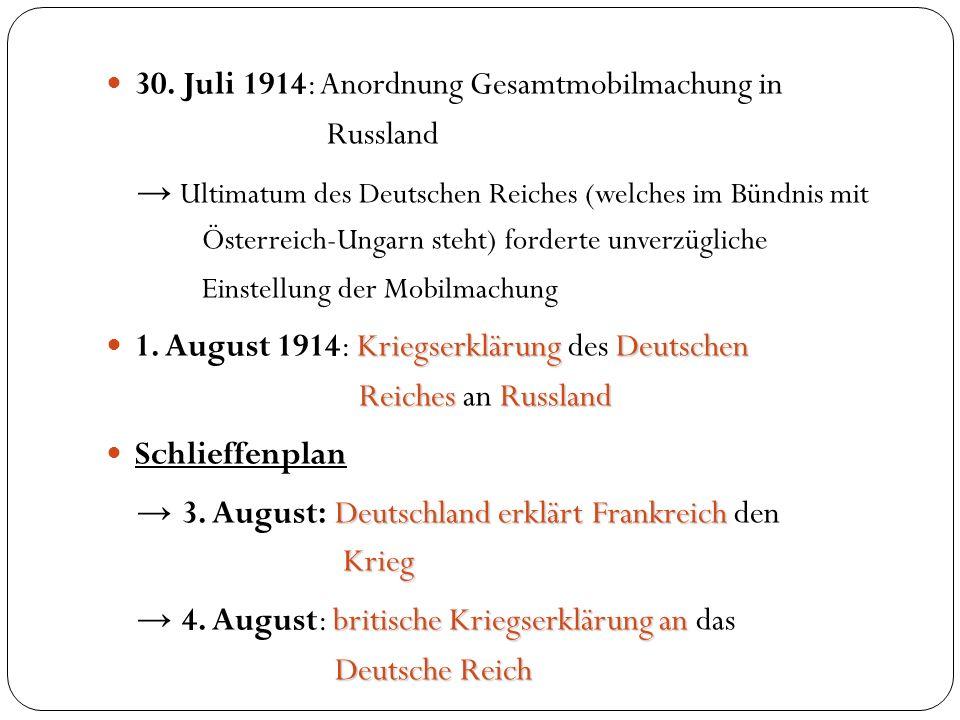 30. Juli 1914: Anordnung Gesamtmobilmachung in Russland