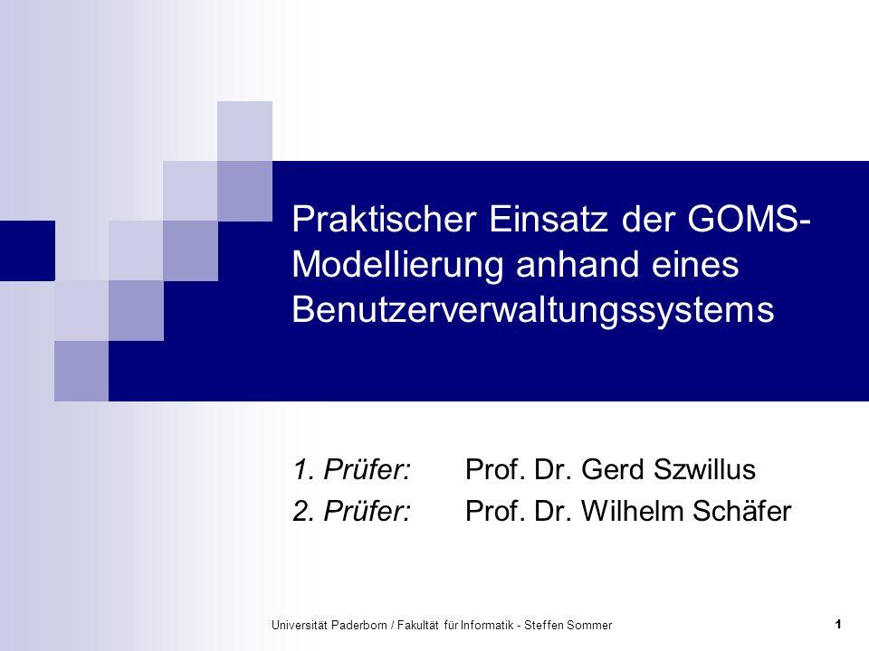 Universität Paderborn / Fakultät für Informatik - Steffen Sommer