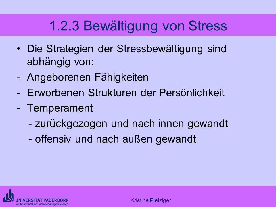 1.2.3 Bewältigung von Stress