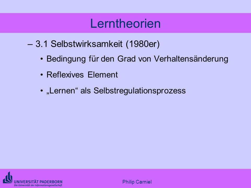 Lerntheorien 3.1 Selbstwirksamkeit (1980er)