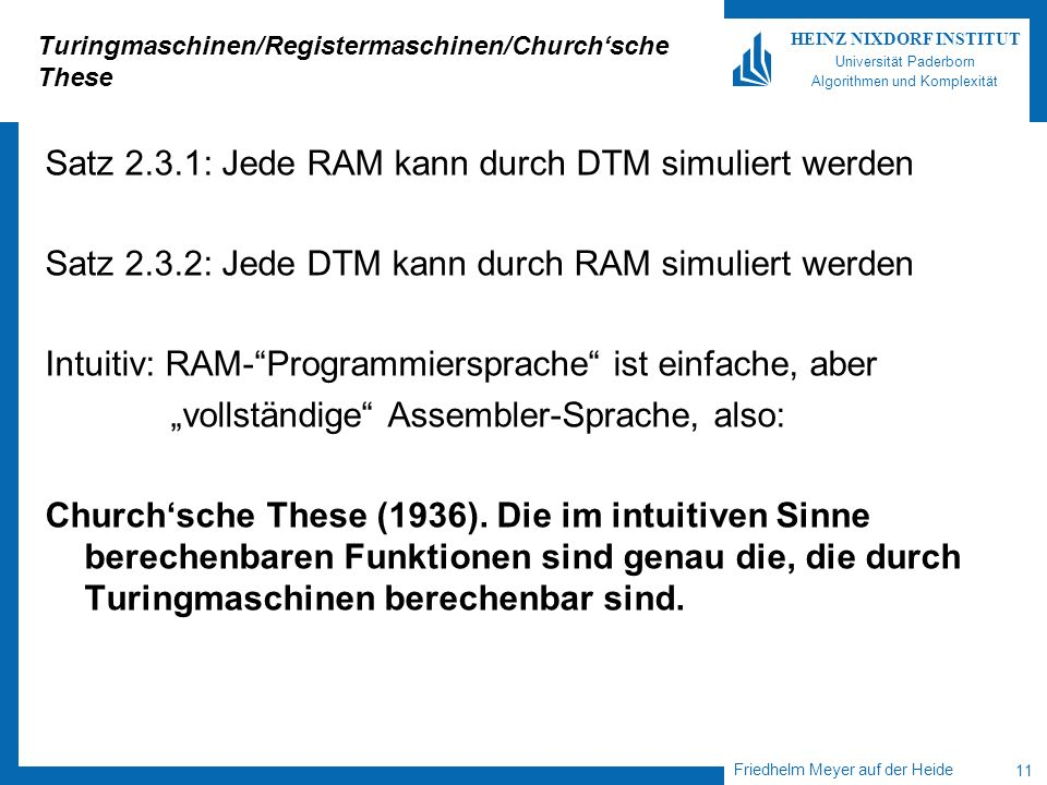 Turingmaschinen/Registermaschinen/Church'sche These