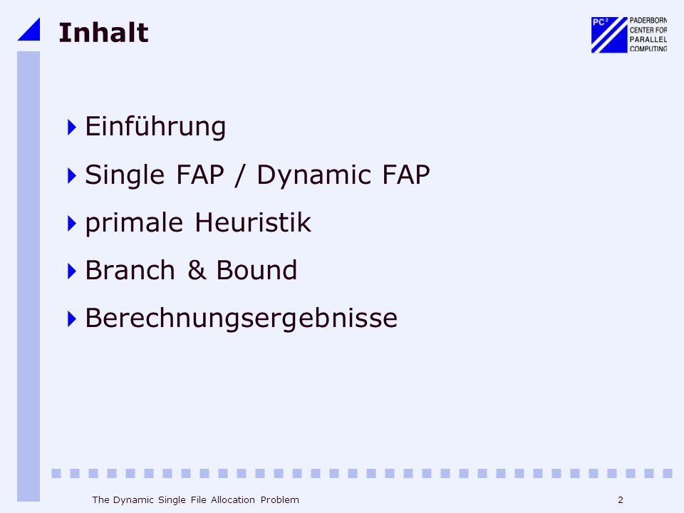 Single FAP / Dynamic FAP primale Heuristik Branch & Bound