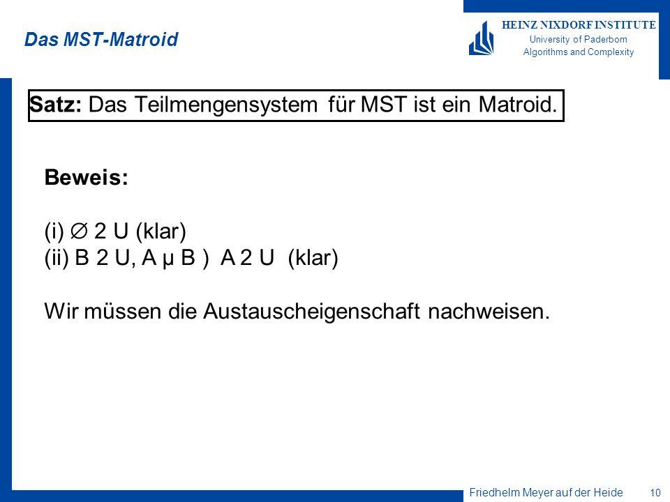 Satz: Das Teilmengensystem für MST ist ein Matroid.