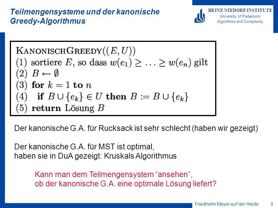 Teilmengensysteme und der kanonische Greedy-Algorithmus