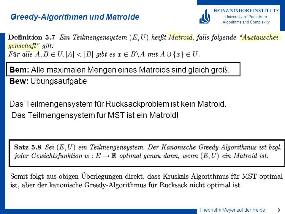 Greedy-Algorithmen und Matroide