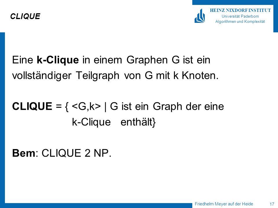 Eine k-Clique in einem Graphen G ist ein
