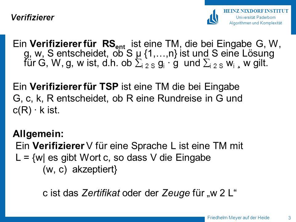 Ein Verifizierer für TSP ist eine TM die bei Eingabe