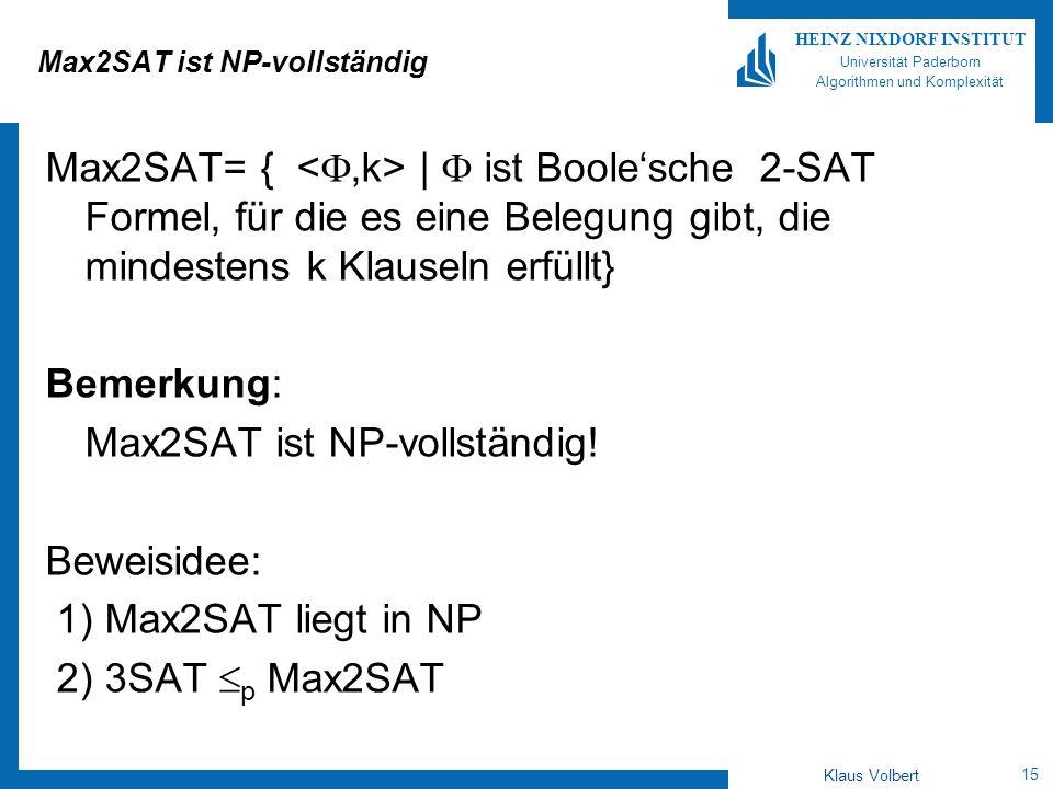Max2SAT ist NP-vollständig