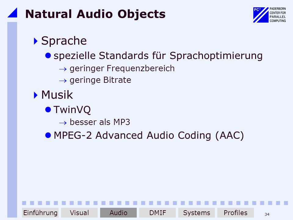 Natural Audio Objects Sprache Musik