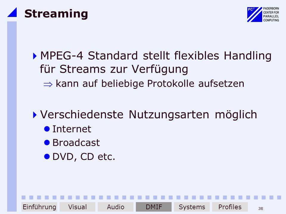 MPEG-4 Standard stellt flexibles Handling für Streams zur Verfügung