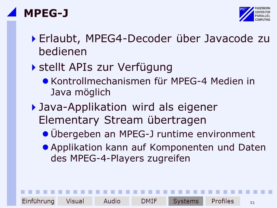 Erlaubt, MPEG4-Decoder über Javacode zu bedienen