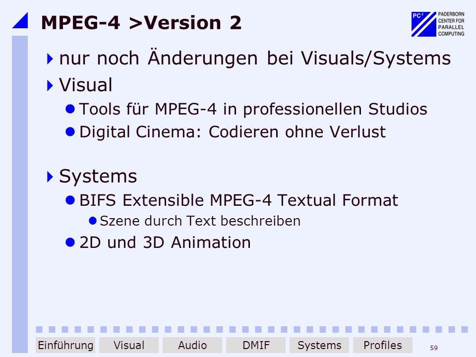 nur noch Änderungen bei Visuals/Systems Visual