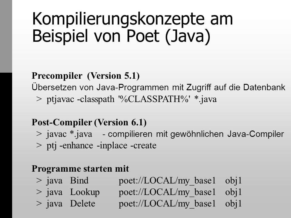 Kompilierungskonzepte am Beispiel von Poet (Java)