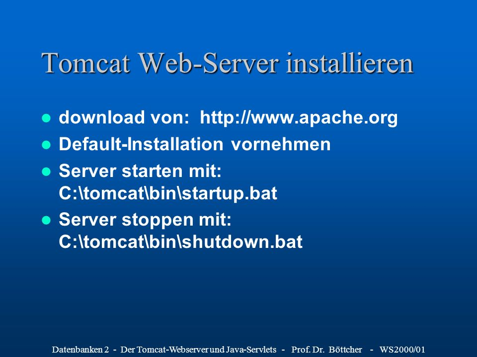 Tomcat Web-Server installieren
