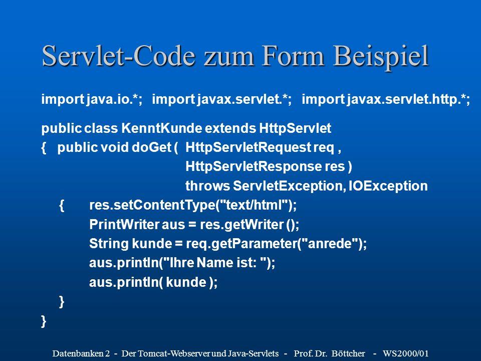 Servlet-Code zum Form Beispiel