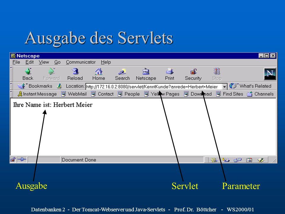 Ausgabe des Servlets Ausgabe Servlet Parameter