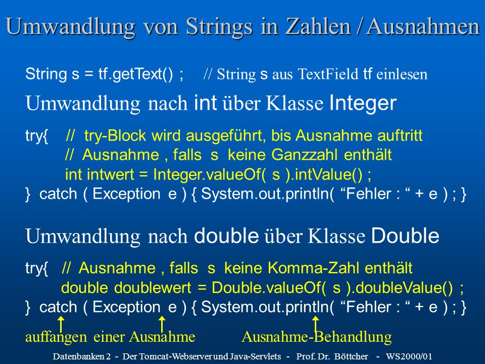 Umwandlung von Strings in Zahlen / Ausnahmen