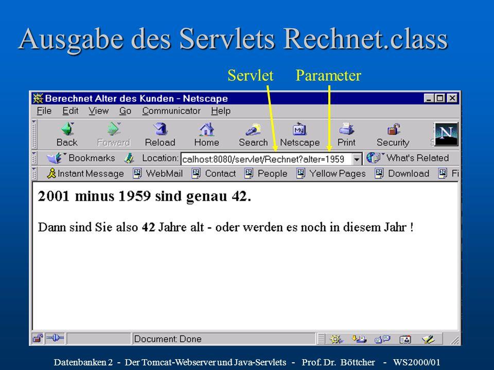 Ausgabe des Servlets Rechnet.class
