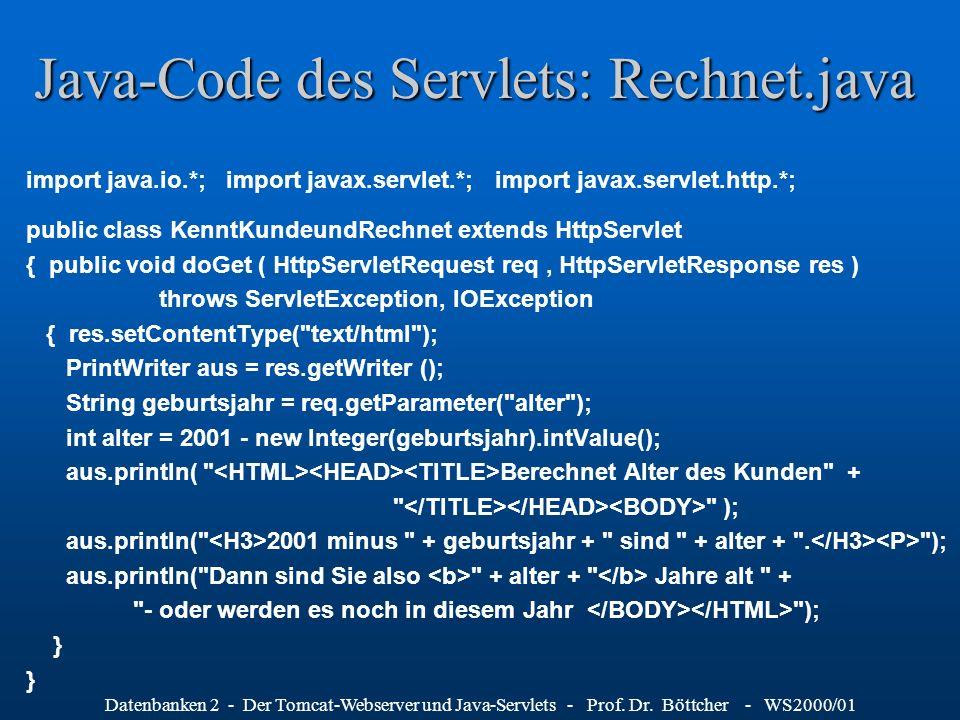Java-Code des Servlets: Rechnet.java