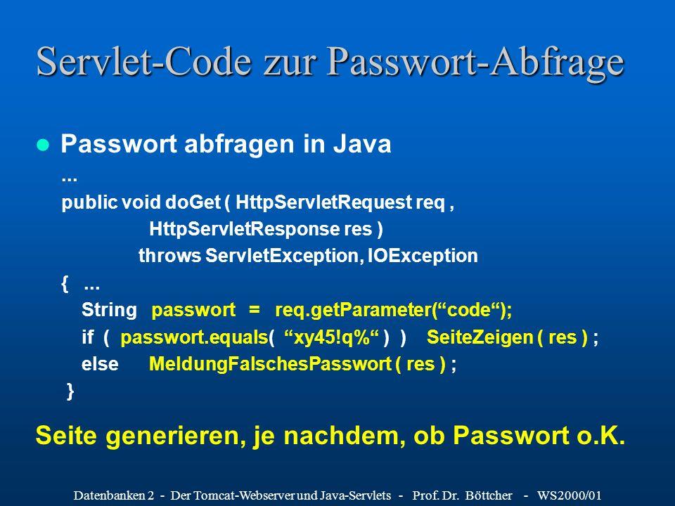 Servlet-Code zur Passwort-Abfrage